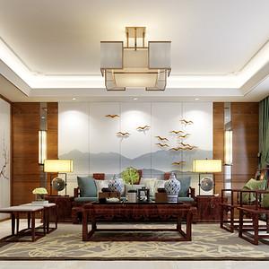 尚景新世界224平米新中式风格装修设计案例