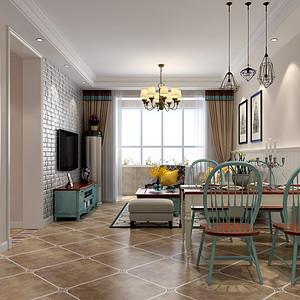 朝阳首府109平三室二厅简约美式风格装修案例