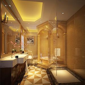 别墅欧式古典风卫生间装修效果图