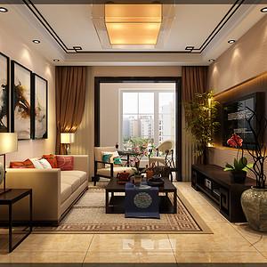 升龙又一城新中式风格98㎡二居室