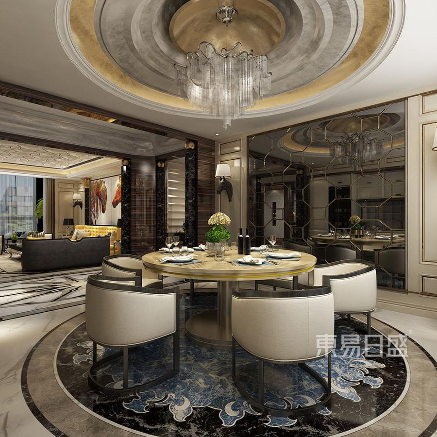 餐厅圆顶造型与地面圆形拼花效果图_2019装修案例图片