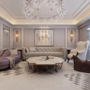 现代欧式混搭-客厅沙发背景图