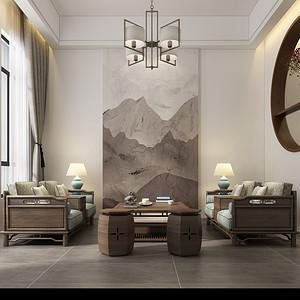 新中式风格 客厅装修效果图片
