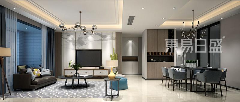 客厅在家具配置上,白亮光系列家具