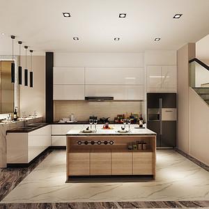 君利花园现代简约风格一楼厨房效果图