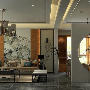 悦湖庭院-中式风格-390平米