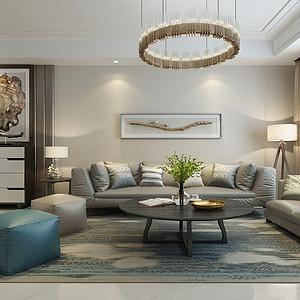 极简风格-客厅-装修效果图