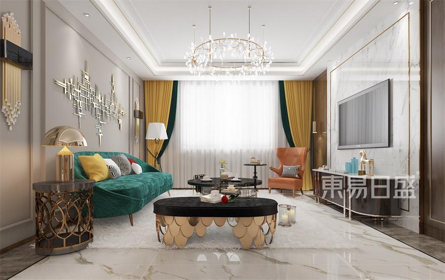 三居室-轻奢风格-客厅-效果图