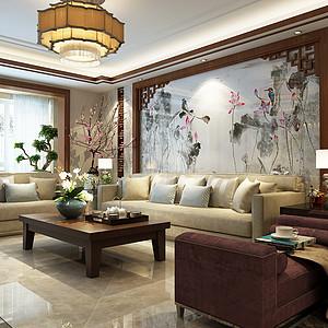 天山熙湖170平三室二厅新中式风格装修案例
