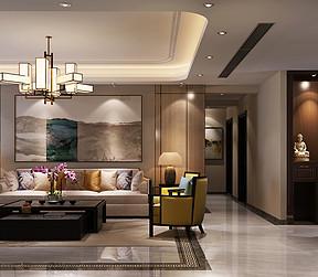 千灯湖一号186平米新中式套房客餐厅装修效果图