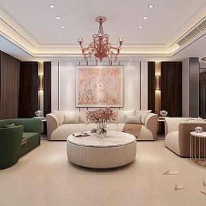 现代中式-客厅沙发背景墙