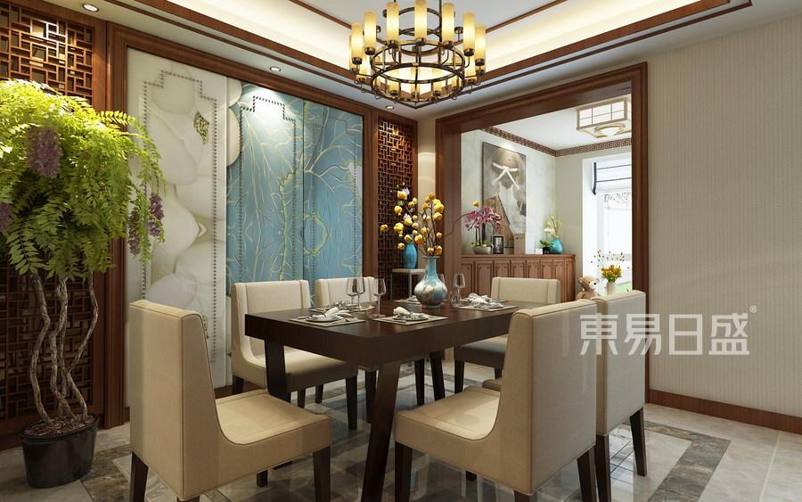 天山熙湖洋房-中式风格-餐厅效果