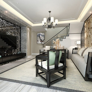 观澜华府 新中式风格 客厅