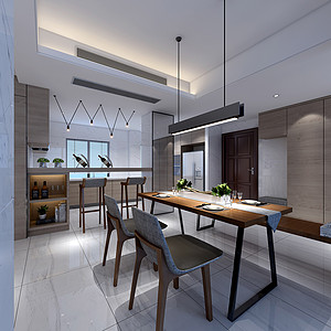 现代极简三房二厅-餐厅装修效果图-现代简约餐厅装修效果图 现代简约