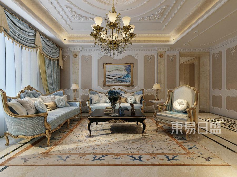 法式-客厅沙发背景墙效果图_2019装修案例图片-装饰图片