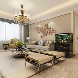 三居室-新古典-客厅沙发背景墙-效果图