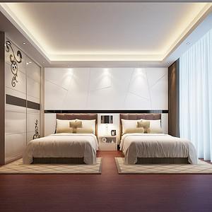 平层现代主义双胞胎房装修效果图