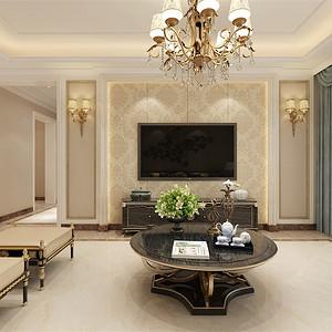 三居室-新古典-客厅电视背景墙-效果图