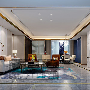 都市茗荟样板房 现代装修风格 客厅