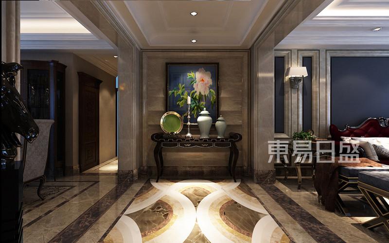 新中式 - 玄关效果图:做了入户衣帽间,顶面一圈