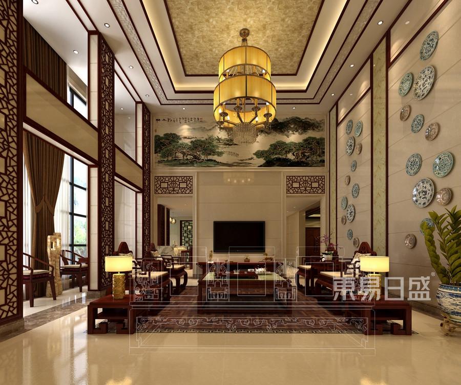 招商海月-新中式风格-别墅客厅设计效果图效果图_2018