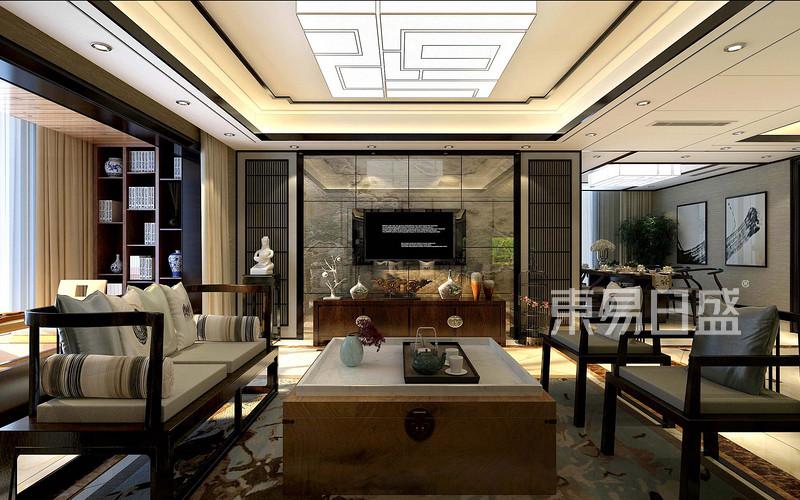 新中式风格四房二厅-客厅装修效果图-东方华府 240㎡新中式风格四居