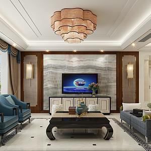 保定书香门第132平三室二厅新中式风格装修案例