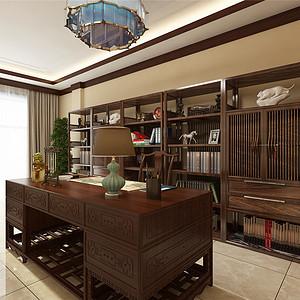 九号别墅新中式风格负一层书房效果图