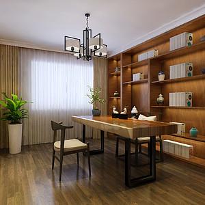 新中式风格-书房-装修效果图