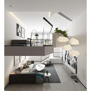 客厅挑空处理增加了空间纵深感