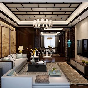 森兰明轩-新中式-140平米-客厅