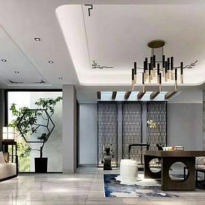 新中式-别墅-客厅