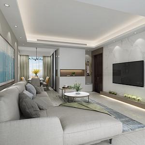 阳光带海滨城 现代简约风格 143平米 四房一厅 装修效果图