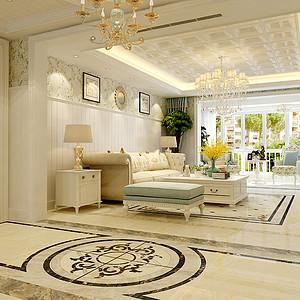 盛邦花园178平三室二厅美式风格装修案例