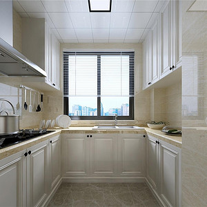 三居室-美式-厨房-效果图