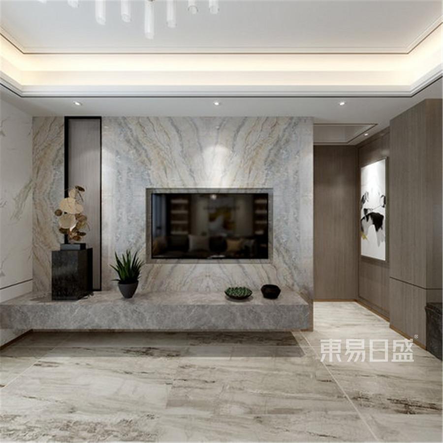 现代轻奢风格跃层客厅装修设计效果图