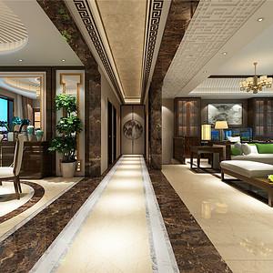 熙和园新中式风格走廊修效果图