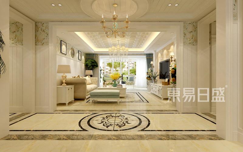 盛邦花园-美式风格-客厅效果