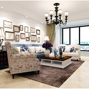 天海誉天下140平三室二厅美式田园风格赏析