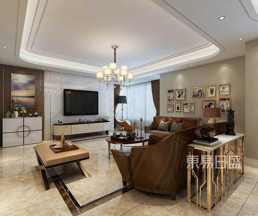 客厅效果图电视背景墙以米色为主