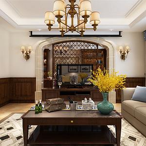 美式-客厅电视背景墙