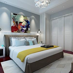 保利生态城四房现代风格卧室装修效果图