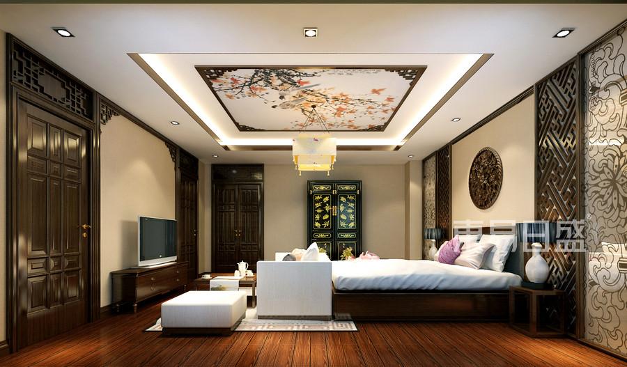 卧室宽敞明亮,吊顶与天花板都做了中式效果看,看起来大气舒适