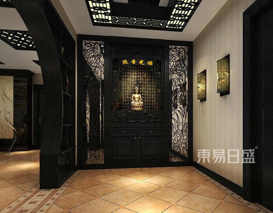 中式新古典门厅佛龛效果图   分享  收藏  空间  风格 元素 我家装成