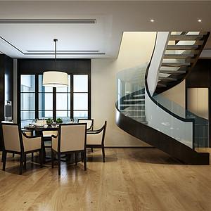 滨江首府349平跃层新中式风格设计装修效果图