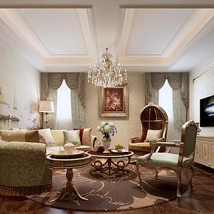 尚都一品法式风格客厅装修效果图