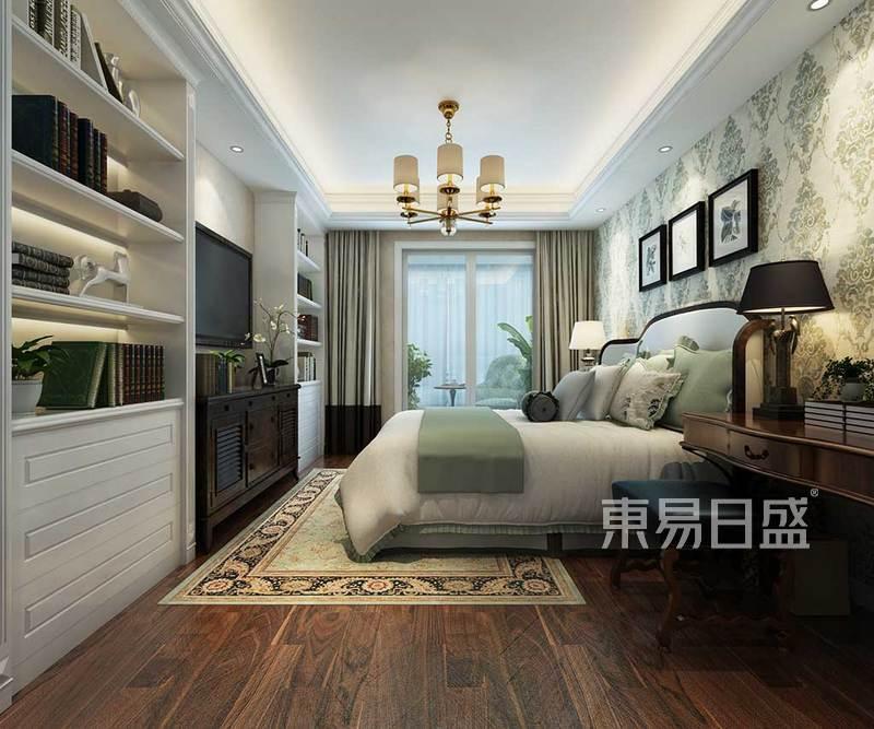 主卧效果图床头背景墙素色的底色
