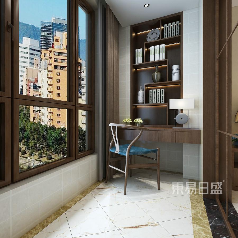 新中式风格-书房-装修效果图图片
