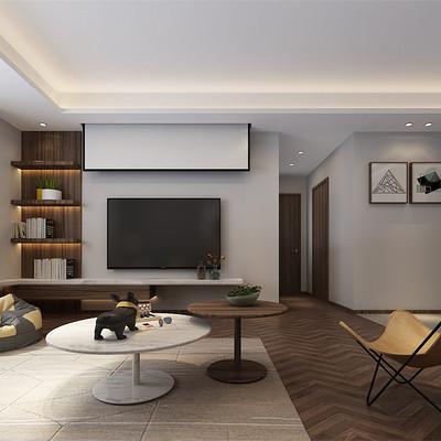 中正亲贤们现代简约三居室客厅电视背景墙装修效果图
