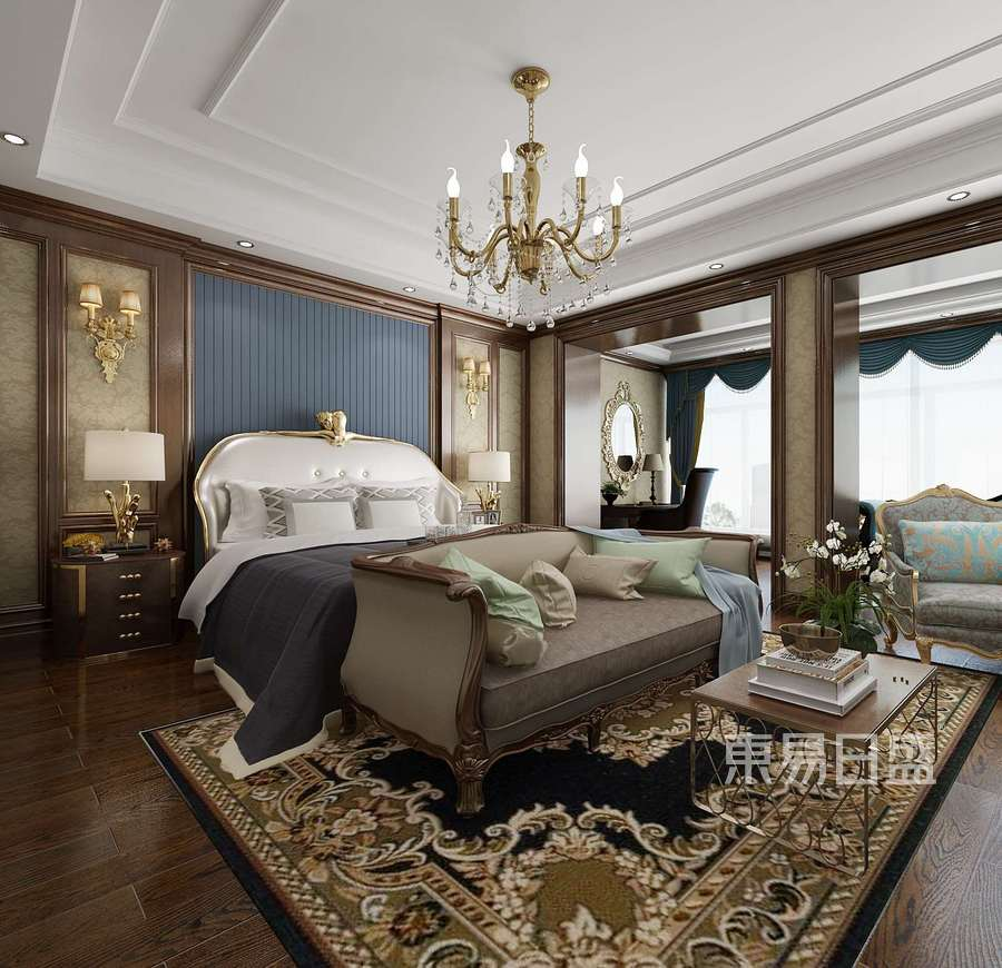 深圳裝修公司東易日盛-別墅裝修案例-歐式風格設計-臥室裝修效果圖